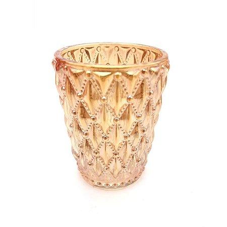Vaso Decorativo em Vidro Dourado Bolinhas
