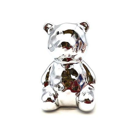 Urso em cerâmica na cor prata