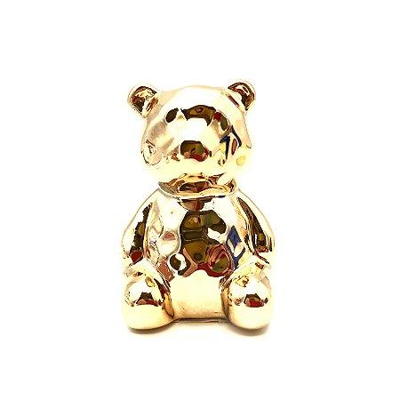 Urso em cerâmica na cor dourado