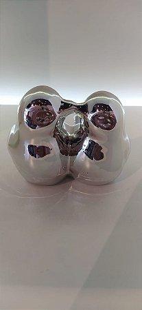 Enfeite de porcelana passarinho prata