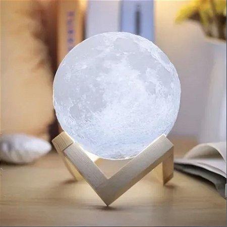 Luminária Lua cheia 3D com suporte de mesa