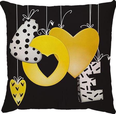 Capa de Almofada Preta Love Amarelo