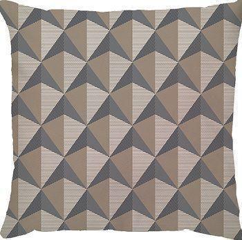 Capa de Almofada Triângulo Bege e Cinza
