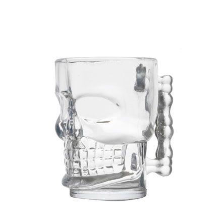 Caneca de vidro para chopp caveira