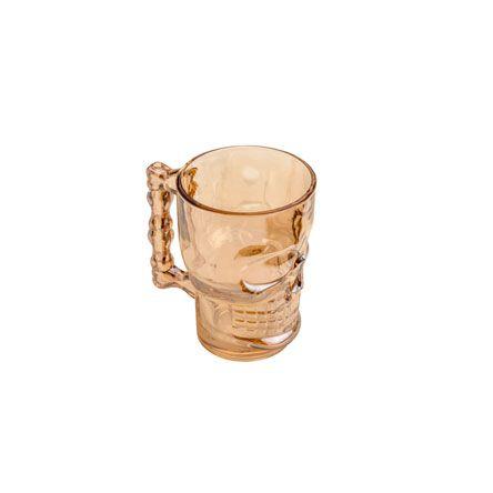 Caneca de vidro chopp caveira Âmbar