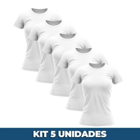 KIT 05 PEÇAS - Baby look 100% algodão penteado branco