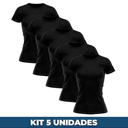KIT 05 PEÇAS - Baby look 100% algodão penteado preto