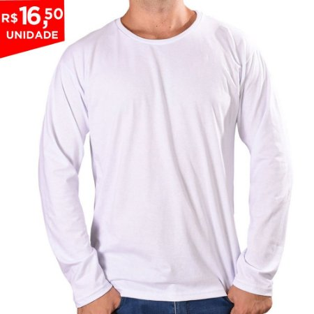 KIT 05 PEÇAS - Camiseta manga longa 100% algodão penteado branco