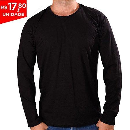 KIT 05 PEÇAS - Camiseta manga longa 100% algodão penteado preto