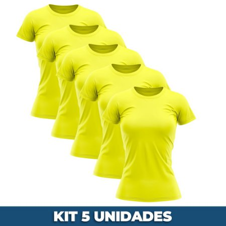KIT 05 PEÇAS - Baby look malha PP amarelo canário