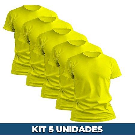 KIT 05 PEÇAS - Camiseta básica helanquinha amarelo canário