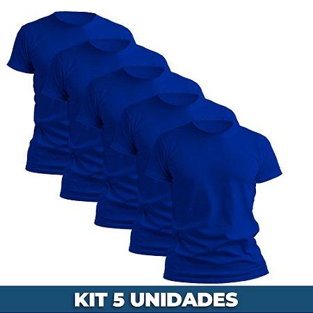 KIT 05 PEÇAS - Camiseta básica helanquinha azul royal