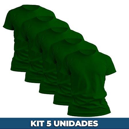 KIT 05 PEÇAS - Camiseta básica helanquinha verde bandeira