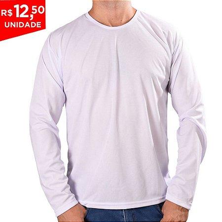 KIT 05 PEÇAS - Camiseta manga longa poliéster branco