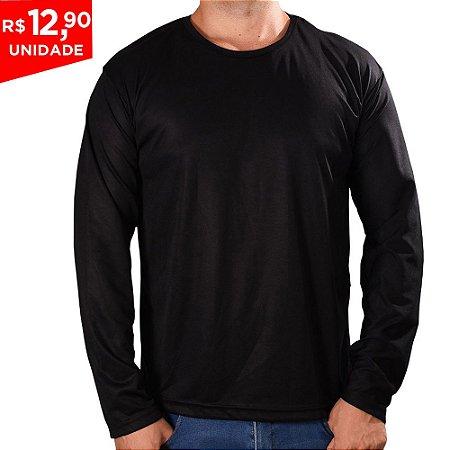 KIT 05 PEÇAS - Camiseta manga longa poliéster preto