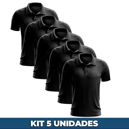 KIT 05 PEÇAS - Polo masculina piqué preta