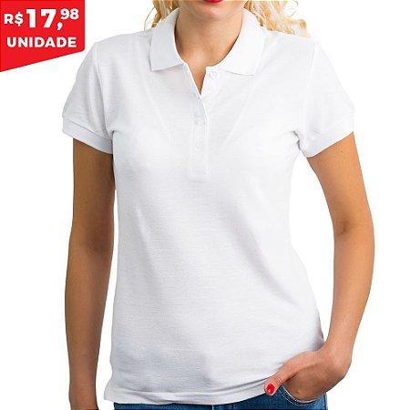 KIT 05 PEÇAS - Polo feminina piqué branca - Camisa da Latinha ... 49f10df0a57ff
