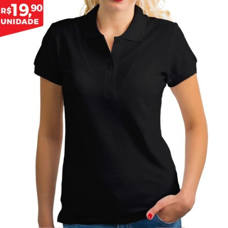 ed9adf570 KIT 05 PEÇAS - Polo feminina piqué preta - Camisa da Latinha Revenda ...