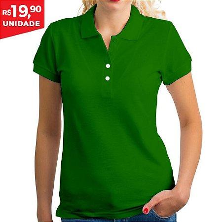 KIT 05 PEÇAS - Polo feminina piqué verde bandeira