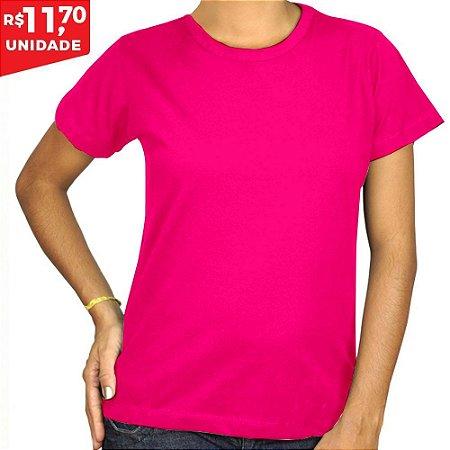 KIT 05 PEÇAS - Baby Look 100% algodão penteado rosa pink - Camisa da ... 499293fa121