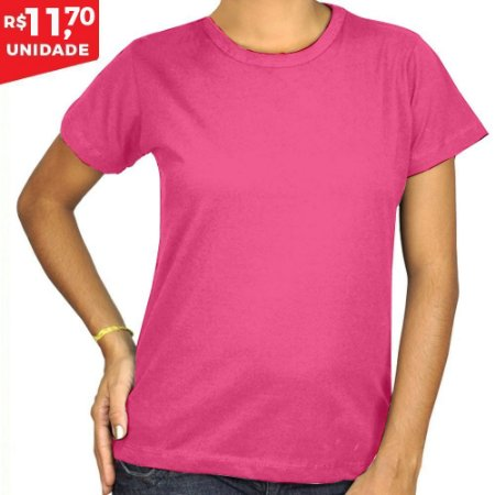 KIT 05 PEÇAS - Baby Look 100% algodão penteado rosa chiclete ... 03012048a8d