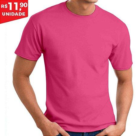 KIT 05 PEÇAS - Camiseta 100% algodão penteado rosa chiclete