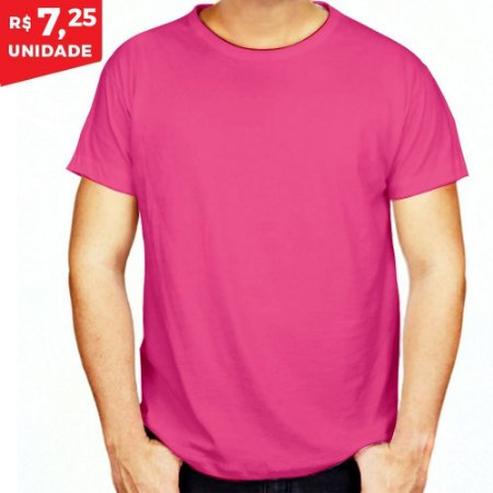 KIT 05 PEÇAS - Camiseta poliéster rosa chiclete