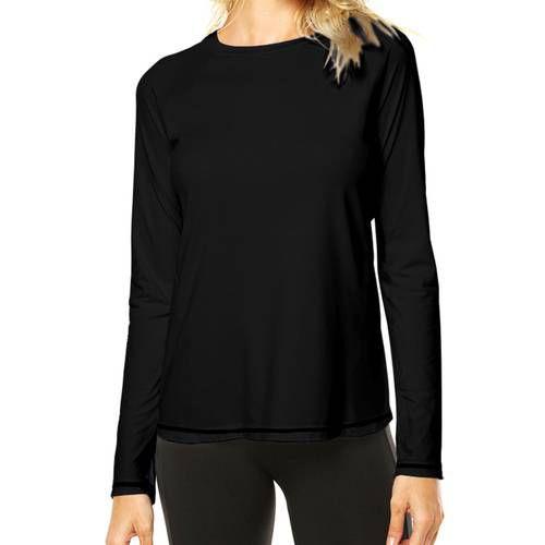 Camisa Uv Preta Fator 50+ Com Proteção Solar Feminina