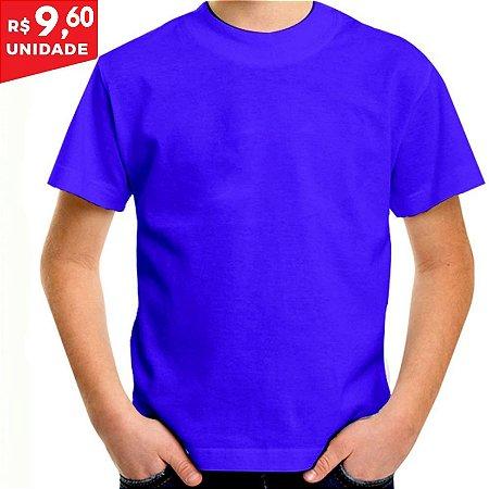 KIT 05 PEÇAS - Camiseta infantil 100% algodão penteado azul royal