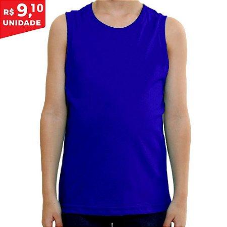 KIT 05 PEÇAS - Regata infantil 100% algodão penteado azul royal