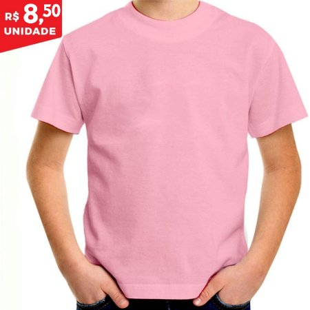 KIT 05 PEÇAS - Camiseta infantil 100% algodão penteado rosa bebê