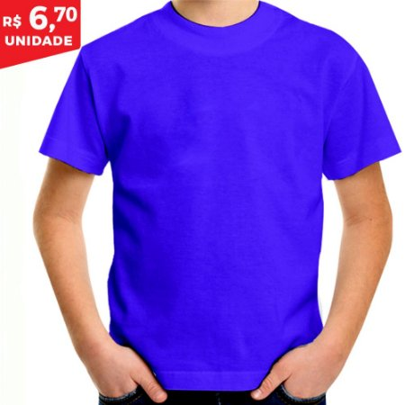 KIT 05 PEÇAS - Camiseta infantil poliéster azul royal