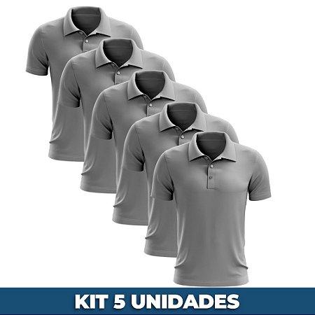 KIT 05 PEÇAS - Polo masculina piqué cinza claro