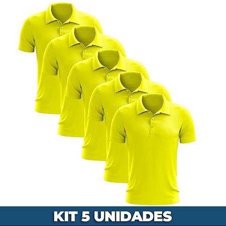KIT 05 PEÇAS - Polo masculina piqué amarelo canário