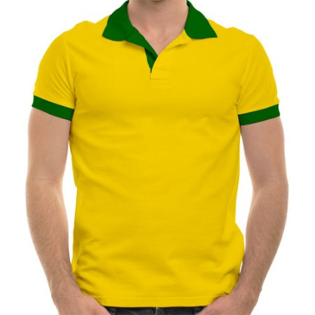 Polo masculina piqué brasil amarelo canário