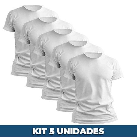 KIT 05 PEÇAS - Camiseta malha 100% algodão penteado branco