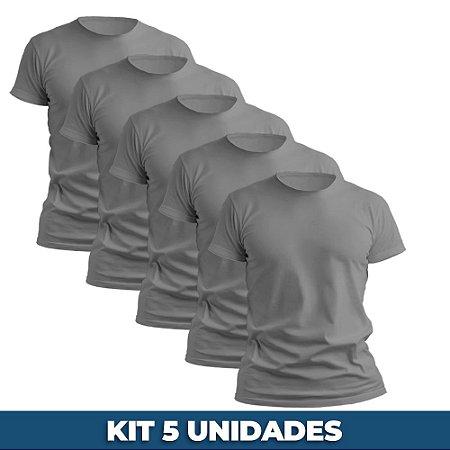 KIT 05 PEÇAS - Camiseta malha 100% algodão penteado cinza