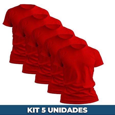 KIT 05 PEÇAS - Camiseta malha 100% algodão penteado vermelho