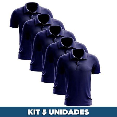 KIT 05 PEÇAS - Polo masculina piqué azul marinho