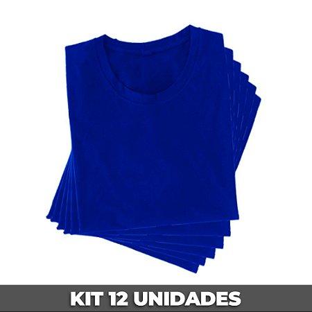 PACK 12 PEÇAS (2P, 4M, 4G, 2GG) - Camiseta malha 100% algodão penteado azul royal