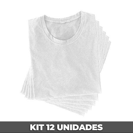 PACK 12 PEÇAS (2P, 4M, 4G, 2GG) - Camiseta malha 100% algodão penteado branco