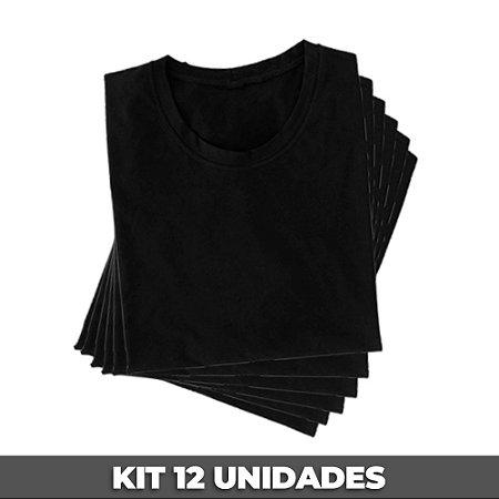 PACK 12 PEÇAS (2P, 4M, 4G, 2GG) - Camiseta malha 100% algodão penteado preto