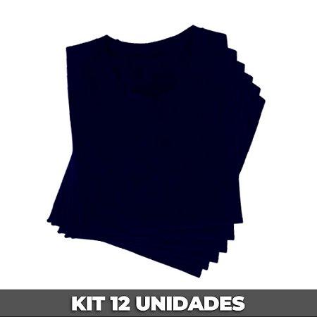 PACK 12 PEÇAS (2P, 4M, 4G, 2GG) - Camiseta malha Premium 100% algodão penteado azul marinho