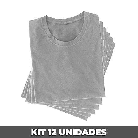 PACK 12 PEÇAS (2P, 4M, 4G, 2GG) - Camiseta malha Premium 100% algodão penteado branca