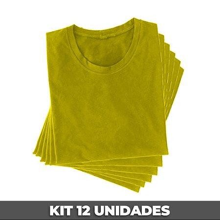 PACK 12 PEÇAS (2P, 4M, 4G, 2GG) Camiseta básica helanquinha amarelo canário