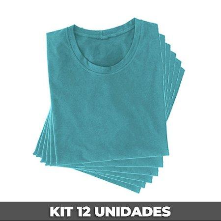 PACK 12 PEÇAS (2P, 4M, 4G, 2GG) Camiseta básica helanquinha azul bebê