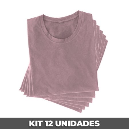 PACK 12 PEÇAS (2P, 4M, 4G, 2GG) - Camiseta malha PP rosa bebê