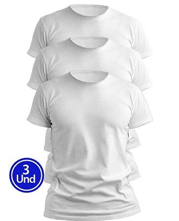 Kit 3 Camisetas Brancas Masculinas Slim Fit Básicas algodão Premium