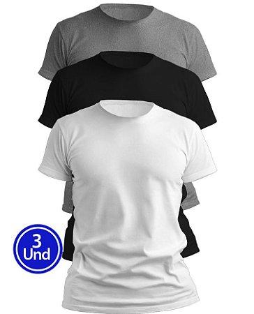 Kit 3 Camisetas Algodão Premium: 1 Branca, 1 Mescla, 1 Preta