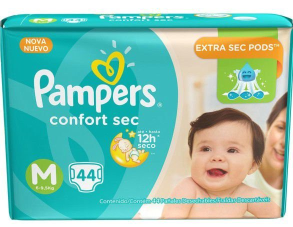 FRALDA PAMPERS TOTAL CONFORT M C/44 Fraldas